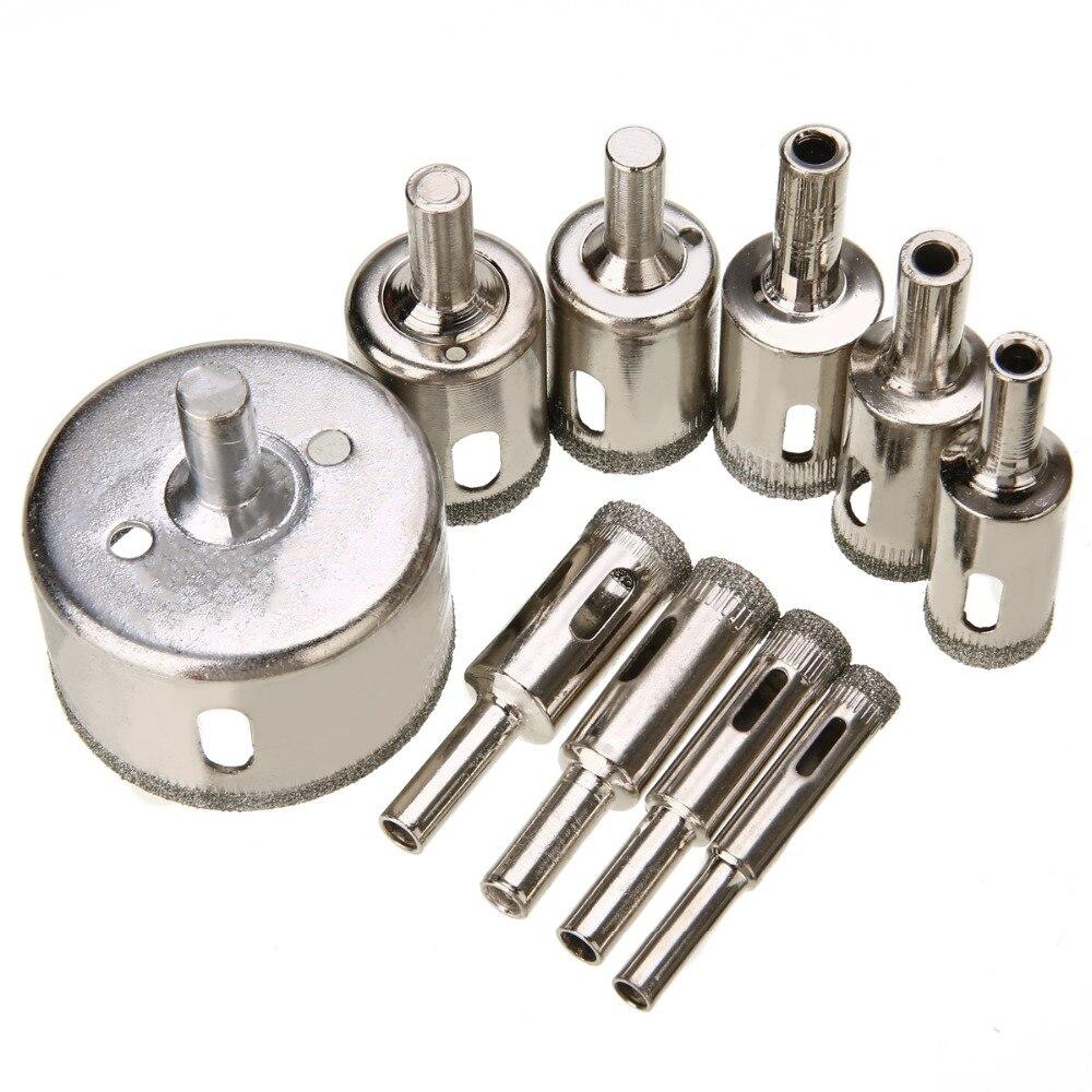 10 piezas de sierra perforada unids recubierta de diamante de alta calidad conjunto de cortador de Holesaw 8mm 50 para azulejos de cerámica de mármol de granito de perforación