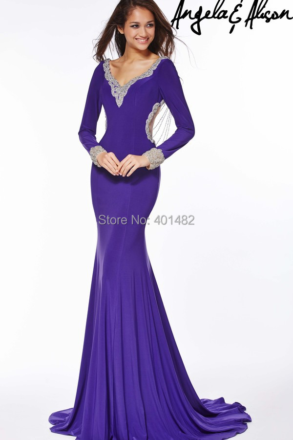 Elegant Long Evening Gowns Sexy Backless Purple Lace Beaded Mermaid Dress 2016 Robe De Soiree Longue Abendkleider - Elaine Fashion --- 100% Satisfaction store
