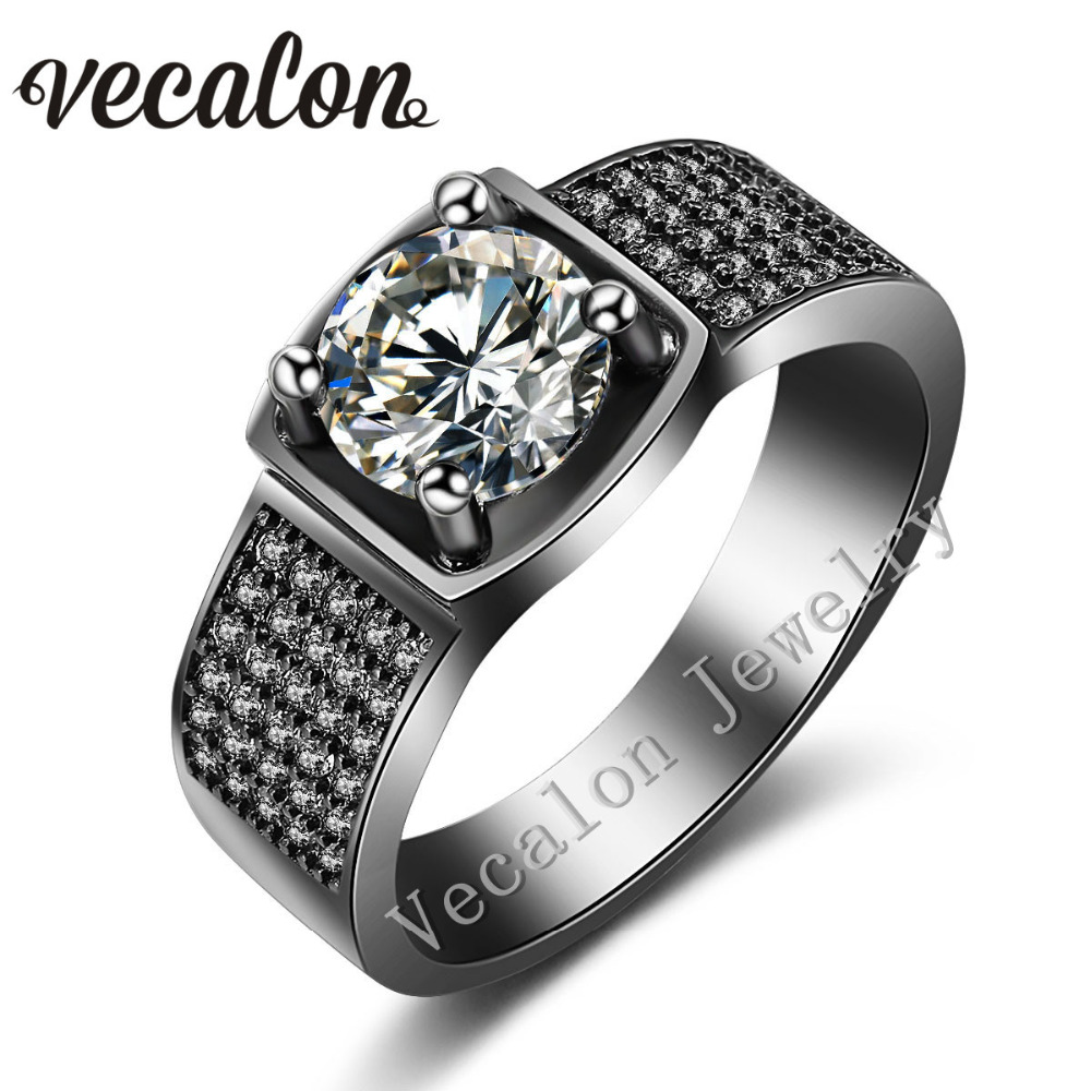 vecalon prong set solitaire 3ct aaaaa zircon cz wedding band ring for men 10kt black gold filled male engagement ring gift - Solitaire Engagement Ring With Diamond Wedding Band