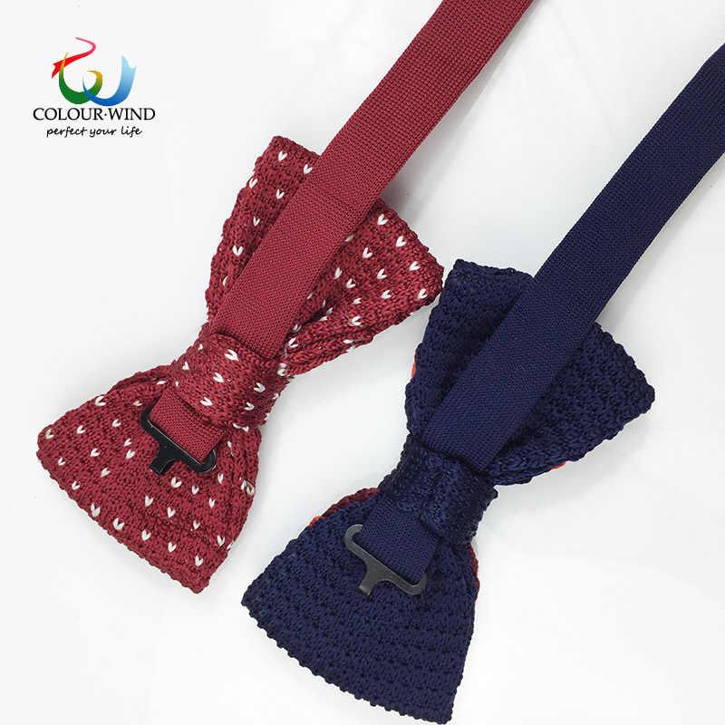 2017 degli uomini Formale Cravatta Lavorata A Maglia Poliestere Cravatte Classico Puntino A Strisce Con Regolabile del Nodo Della Farfalla Per Il Ragazzo di Sesso Maschile Gravata regalo
