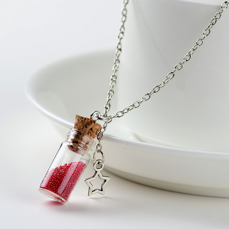 New Drifting Bottle Lively Pendent Necklace Creative Natural Drift Sand Women Necklace Cylindrical Glass Necklace Girl Gift in Pendant Necklaces from Jewelry Accessories