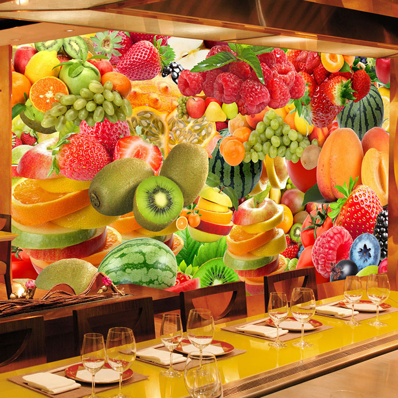 Custom Any Size Wallpaper 3D Fresh Fruit Mural Restaurant Cafe Fruit Store Backdrop Wall Decor Modern Creative Mural Wall Papers