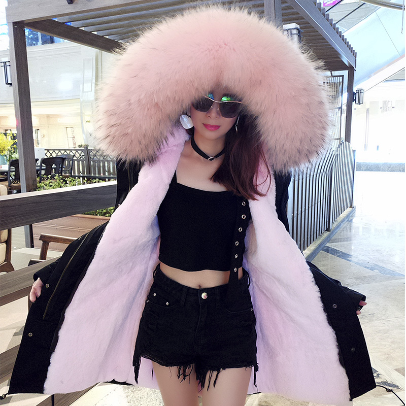maomaokong women luxurious Large raccoon fur collar hooded coat warm faux fur parkas long winter jacket top quality 2017 winter new clothes to overcome the coat of women in the long reed rabbit hair fur fur coat fox raccoon fur collar