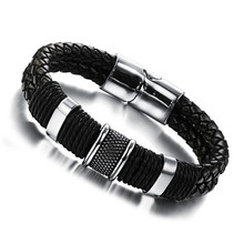 FASHION Men Charm Bracelet Black Leather Bracelet Stainless Steel Magnetic Clasps Bracelets Male Vintage Jewelry APH891