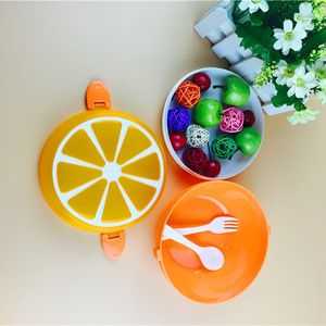 ONEUP 2 Layer Lemon Pattern Lunch Box Eco-friendly Bento Box Fruit Food Container Salad Box With Spoon For Kids Student Picnic