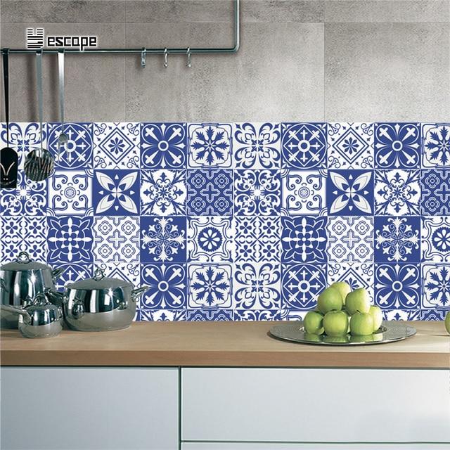 Autocollant Classique Bleu Et Blanc Porcelaine Mur Art étanche Carrelage  Autocollants Cuisine Papier Peint Salle De