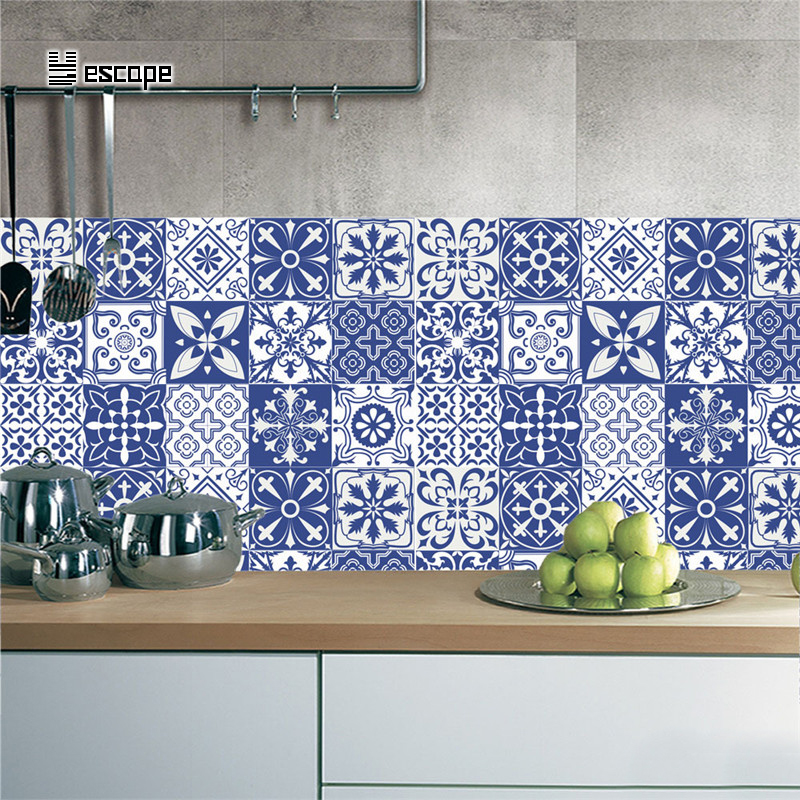Self Adhesive Classic Blue And White Porcelain Wall Art Waterproof