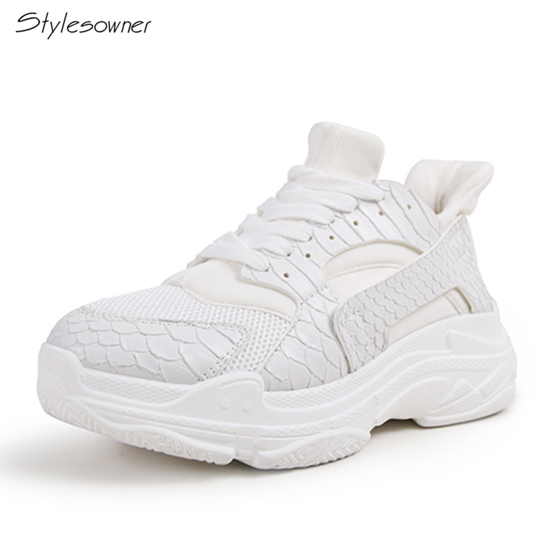 Stylesowner New Fashion Mesh Snake Pattern Platform Women Sneakers Ulzzang Casual White Sneaker Shoes 2018 Thick Sole Flat Shoes