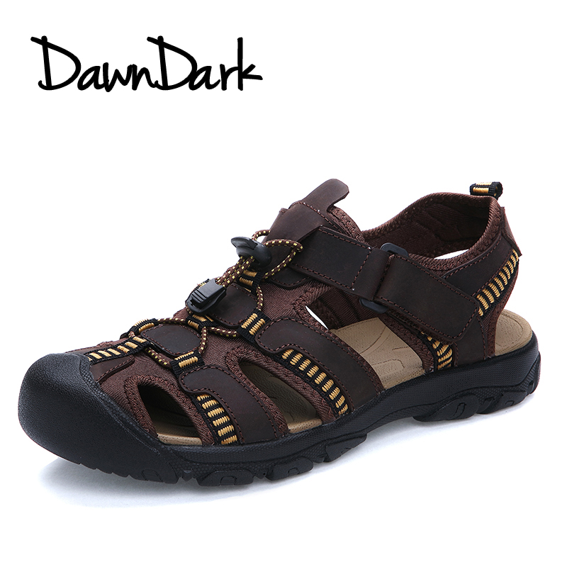Men Sandals Genuine Leather Male Fashion Summer Leisure Beach Shoes Brown Slip on Man Casual Sandals Big Size