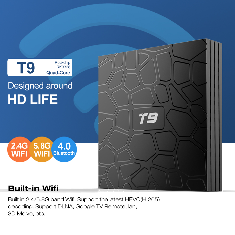 Smart 4K Set Top Box T9 Android 8.1 TV Box RK3328 Quad Core 4G/32G USB 3.0 Media Player T9 Optional 2.4G/5G Dual WIFI Bluetooth ugoos ut3s android linux dual boot rk3288 4g 32g media player