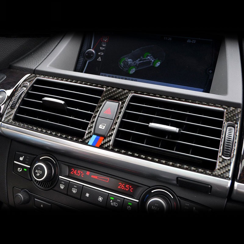 Carbon Fiber Car <font><b>Interior</b></font> Navigation Control Panel air conditioner outlet Decorative Frame Cover <font><b>Trim</b></font> for <font><b>BMW</b></font> <font><b>e70</b></font> e71 X5 X6 image