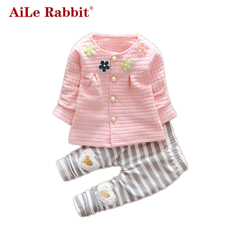 49921e168 ᗑ AiLe Rabbit 2017 New Baby Cothes Girls Flower Suit Cardigan + ...