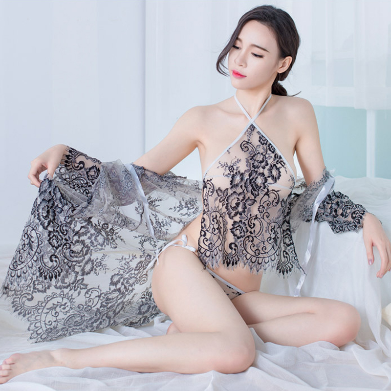 3PCS Set Transparent Sexy Nightgowns Sexy Mesh Lingerie Long Erotic Dresses Sexy Transparent Nighties 2019 See Through Costumes in Babydolls Chemises from Novelty Special Use