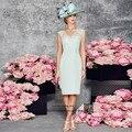 Plus Size Mãe dos Vestidos de Noiva de Renda com Jaqueta Fatos de calça Verde Menta Madrinha Na Altura Do Joelho Vestido de Noite Formal vestidos