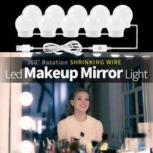 USB светодио дный лампа для макияжа 6 10 14 лампочек туалетный столик освещение Настенный светильник В 12 в Голливуд туалетное светодио дный зеркало светодиодный свет Плавная затемнения
