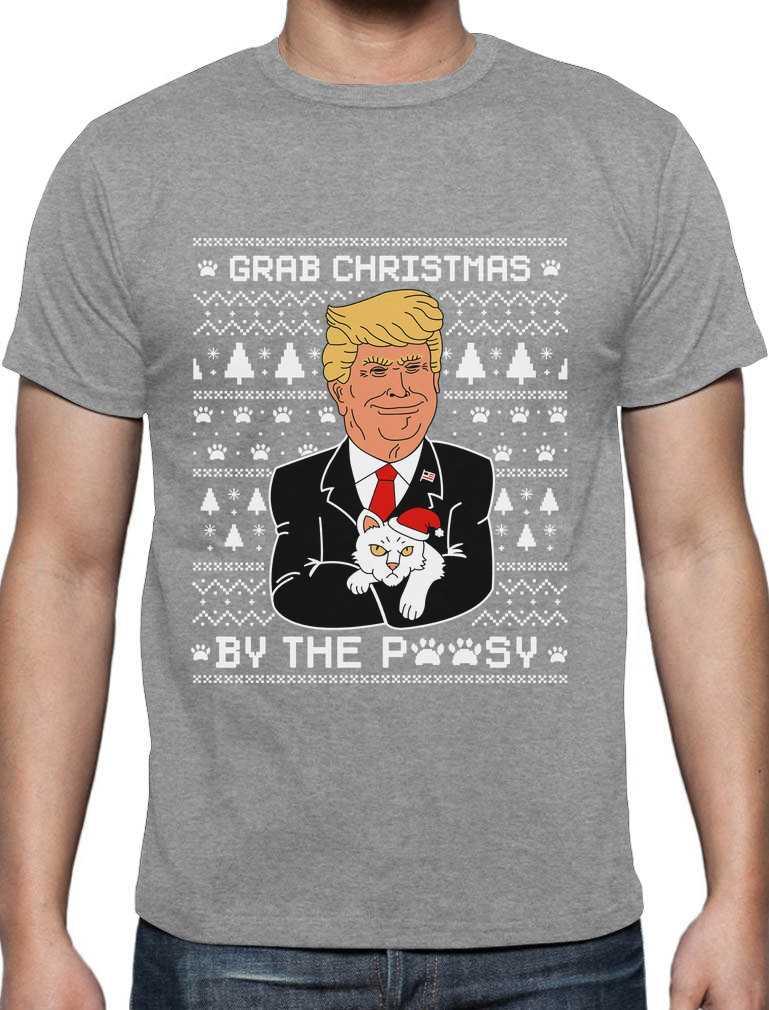 Grab Christmas By The Pussycat Funny Donald Trump Ugly Xmas Sweatshirt Gift