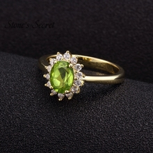 100% Natural Manchurian Peridot With 1.50ctw CZ 18k Gold Plated Wedding Ring