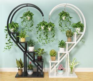 Repisa de flores para el hogar para sala de estar, estante circular de hierro para balcón interior de varios niveles, estante decorativo de orquídeas con colgante de loto verde