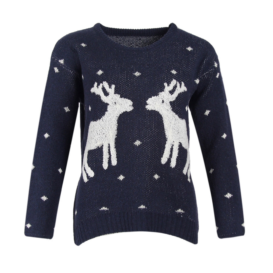 Christmas Gift Sweater Women 2017 Winter Cotton Pullover Christmas Sweater Two Deers Pullover Outwear Coat Pull Femme