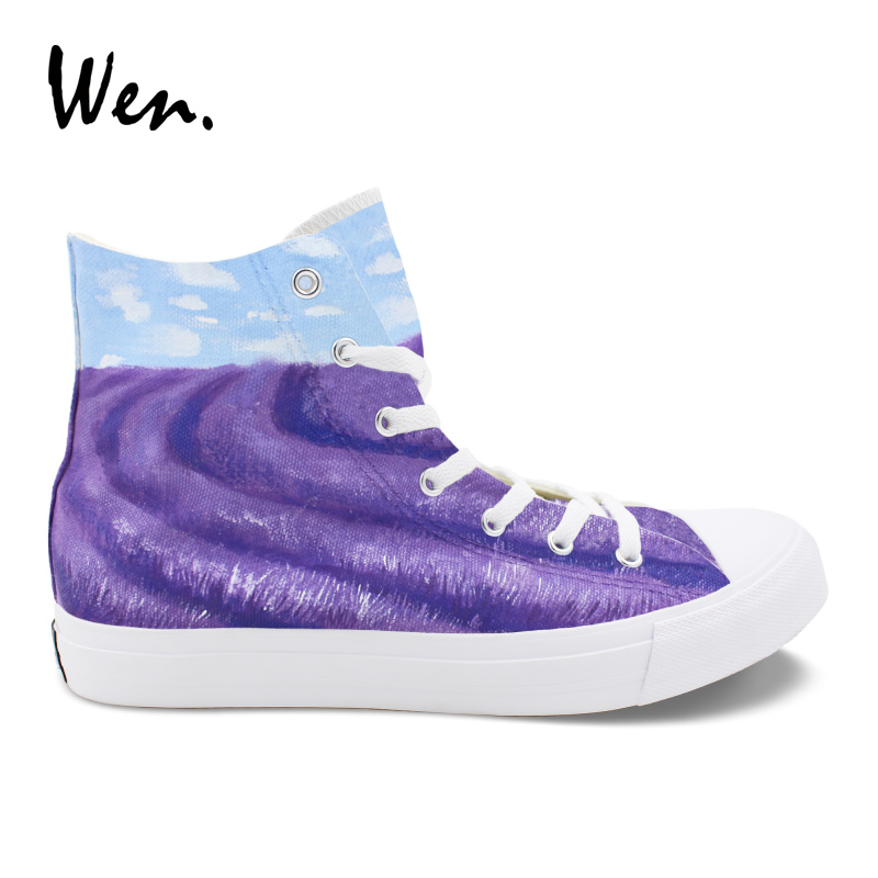 Wen High Help Vulcanize Shoes Platform Casual Flat Provence Lavender Hand Painted Canvas Sneakers Graffiti Men Women Plimsolls e lov hand painted graffiti horoscope canvas shoes custom luminous graffiti gemini casual flat shoes women zapatillas mujer