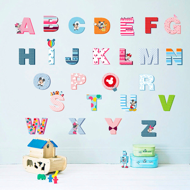 Cartoon Minnie Mickey 26 Letters Alphabet Wall Decals For Kids Rooms Home  Decor PVC Wall Stickers