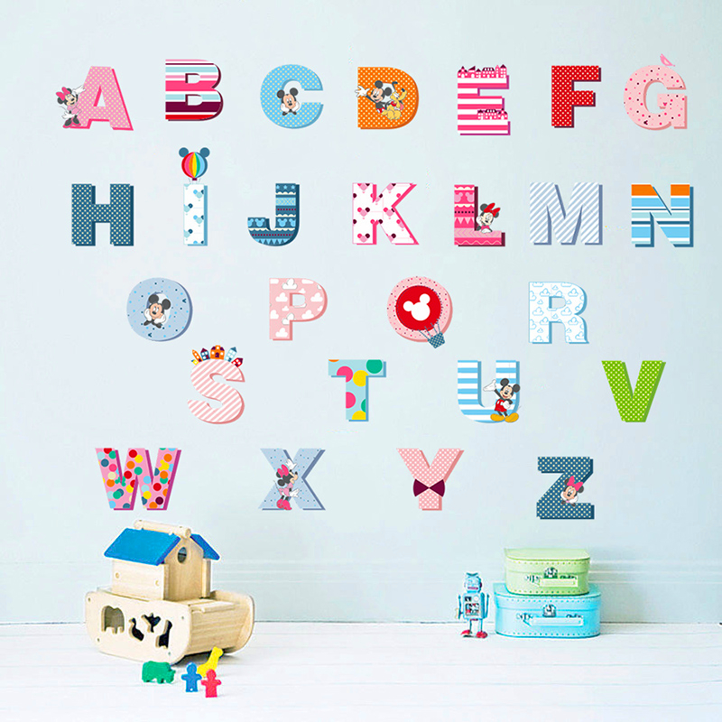 Cartoon Minnie Mickey 26 Letters Alphabet Wall Decals For Kids Rooms Home Decor PVC Wall Stickers Diy Removable Posters Mural