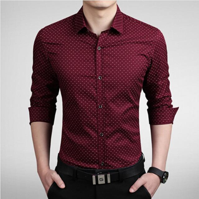 2019 New Men's Shirts Men Casual Slim Fit Designer Print