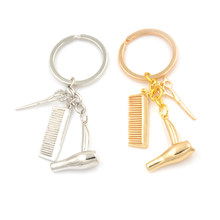 Creative Jewelry Tools Hair Dryer/Scissor/Comb Pendants Keychain Barber Shop Hair Dresser Present Key Chain Ornaments(China)