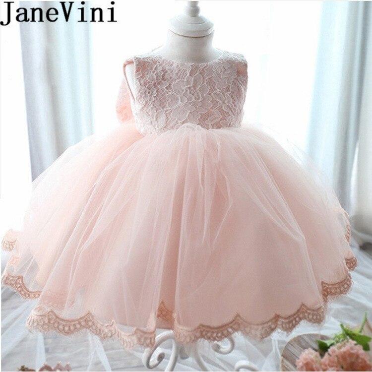 JaneVini rose bébé fleur filles robes robe de bal de mariage Tulle dentelle fille robe Communion robes grand arc enfants robes d'anniversaire