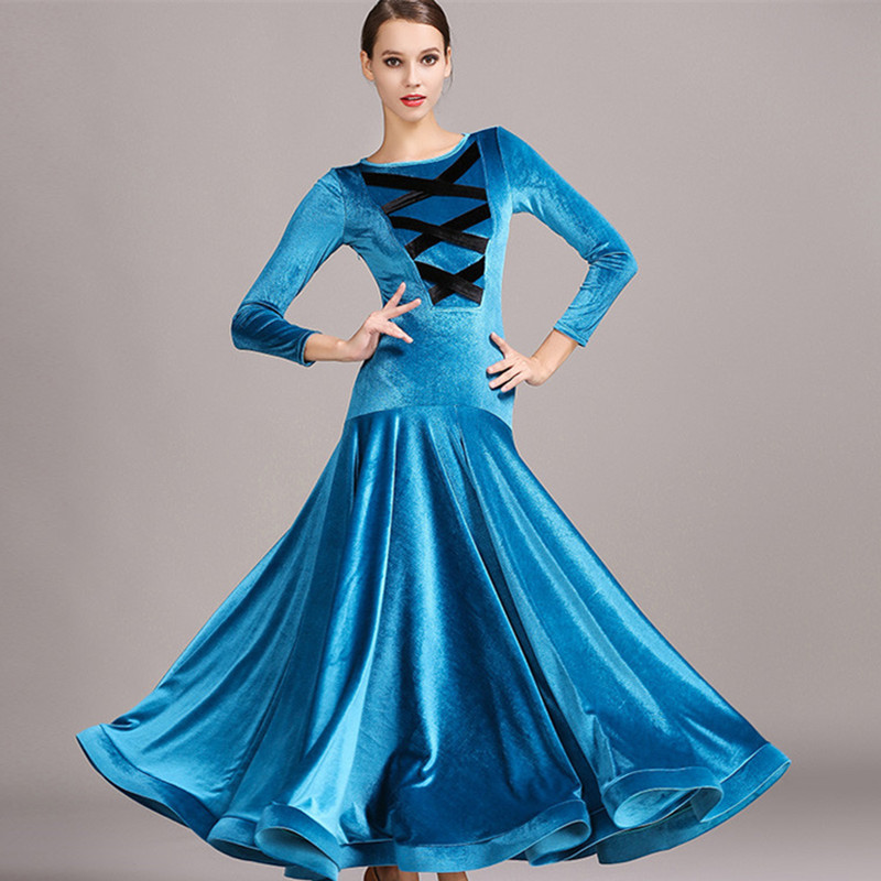 Picture of 3 Colors Velvet Standard Ballroom Dress Standard Dance Dresses Luminous Costumes Red Flamenco Dress Ballroom Waltz Dresses