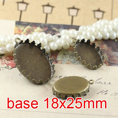 Free shipping!!! 300pcs bronze oval imperial crown Picture Frame charms Pendants 18x25mm,Cameo Cab settings,pendant base