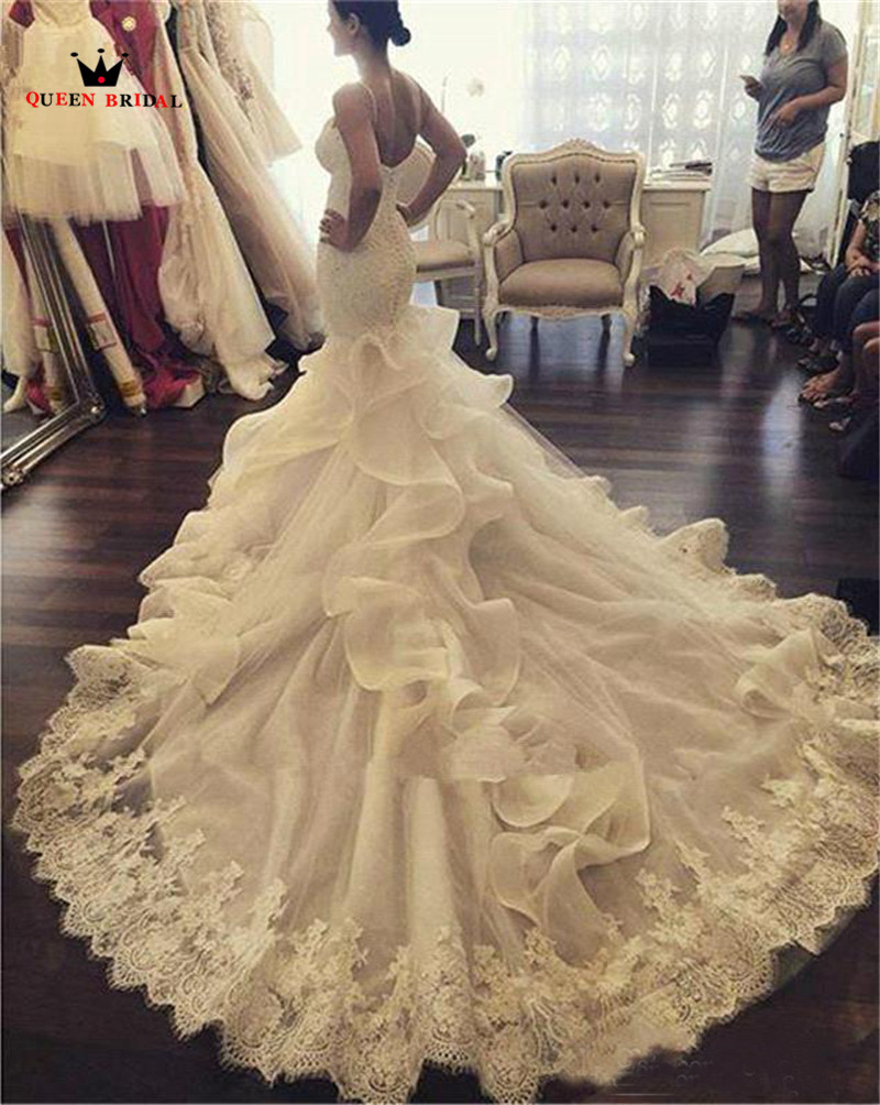Купить с кэшбэком Custom Made Sexy Mermaid Wedding Dresses Long Train Sweetheaart Sexy Luxury Wedding Gown robe de mariee Vestidos De Novia WS69