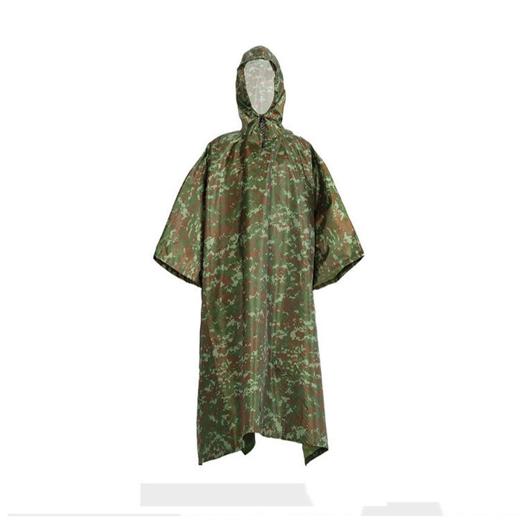 Camouflage Raincoat Military Tactical Multifunction Raincoat Poncho Cover Tent Hiking Rainwear Outdoor Camp Rain Coat Raincoats