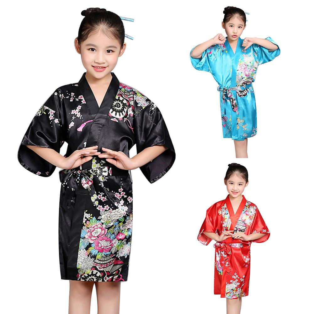 Kids Children Girls Robe Satin Children summer Kimono Bridesmaid Floral Printing Dressing Gown Bath Robe Homewear Sleepwear