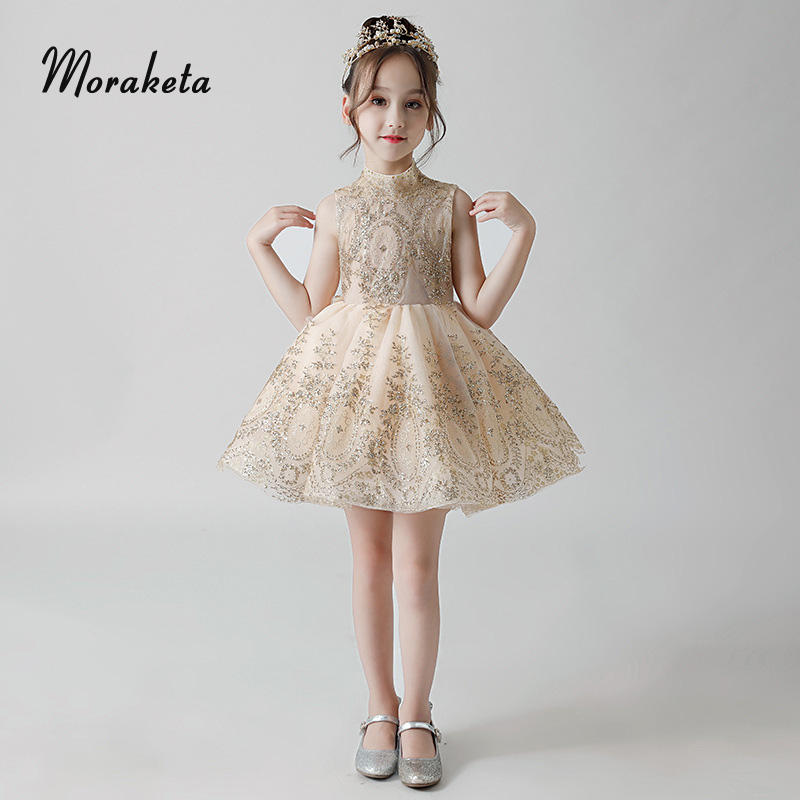 Shiny Glitter Champagne Kids Birthday Party Dress Ball Gown Princess Sleeveless Short Flower  Girl Dresses For Wedding 2019