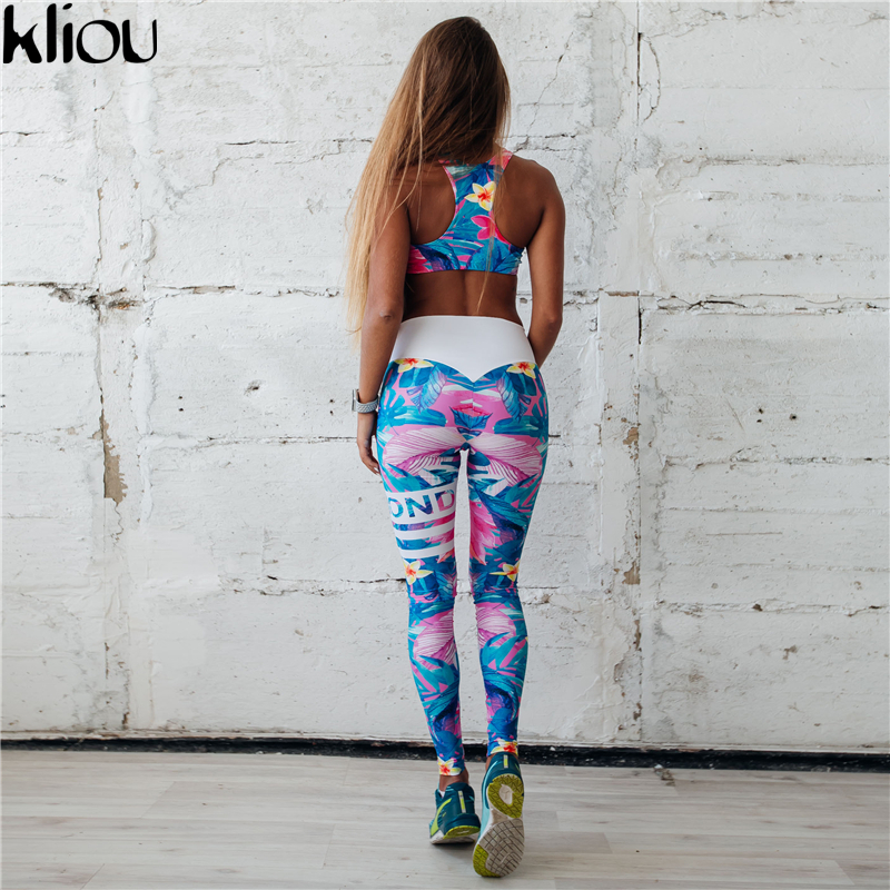 Kliou 2017 Retro Digital Printed letters workout Suit Fitness Tracksuit Women Set Female Sporting Bra Leggings 4