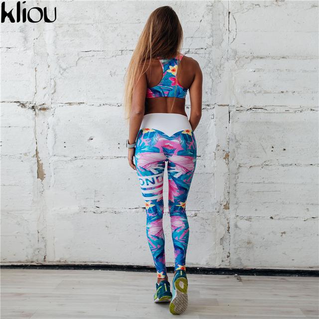 Kliou 2017 Retro Digital Printed Letters Workout Suit Fitness Tracksuit Women Set Female Sporting Bra Leggings Women Clothing