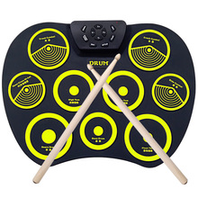 лучшая цена Portable Electronic Drum Set Roll Up Drum Kit 9 Silicon Pads USB Powered with Foot Pedals Drumsticks USB Cable for Students