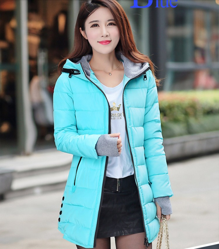 2015 Hot Selling 9 Colors M 3XL Slim Down Cotton Padded Coats Female Medium Long Plus