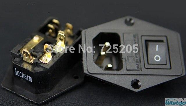 AC Puissance Prise 10A250V Archarm 4N Cuivre Pur Or-plaqué Bornes Avec Interrupteur HIFI Audio DIY Livraison Gratuite