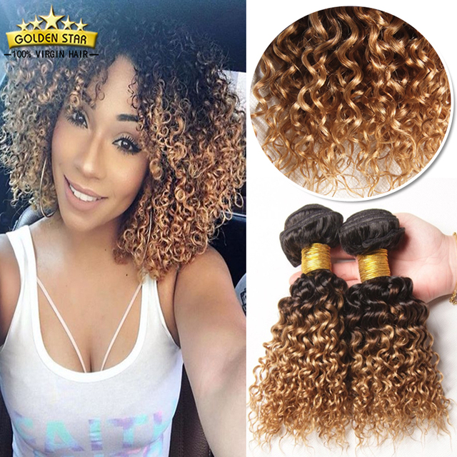 Short Indian Afro Kinky Curly Blonde Ombre Curly Indian Virgin Hair