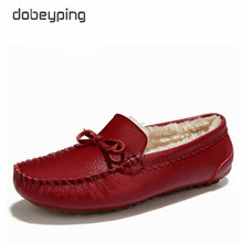 Winter Fur Women Loafers Slip-on Leather Ladies Flats Warm Plush Driving Boat Shoes Woman Moccasins New Casual Female Solid Shoe tastabo casual genuine leather flat shoe for women flower slip on driving shoe female moccasins flats lady pregnant women shoes