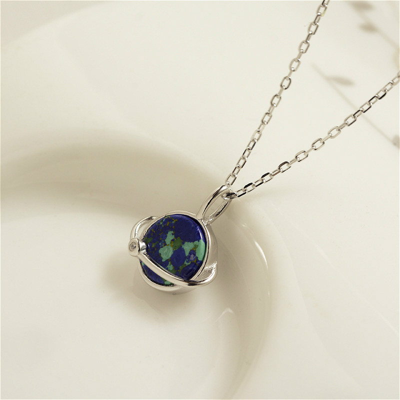 Real Pure 925 Sterling Silver High Quality Necklace Jewelry Round Saturn Pendant Necklaces Silver Necklace Chain