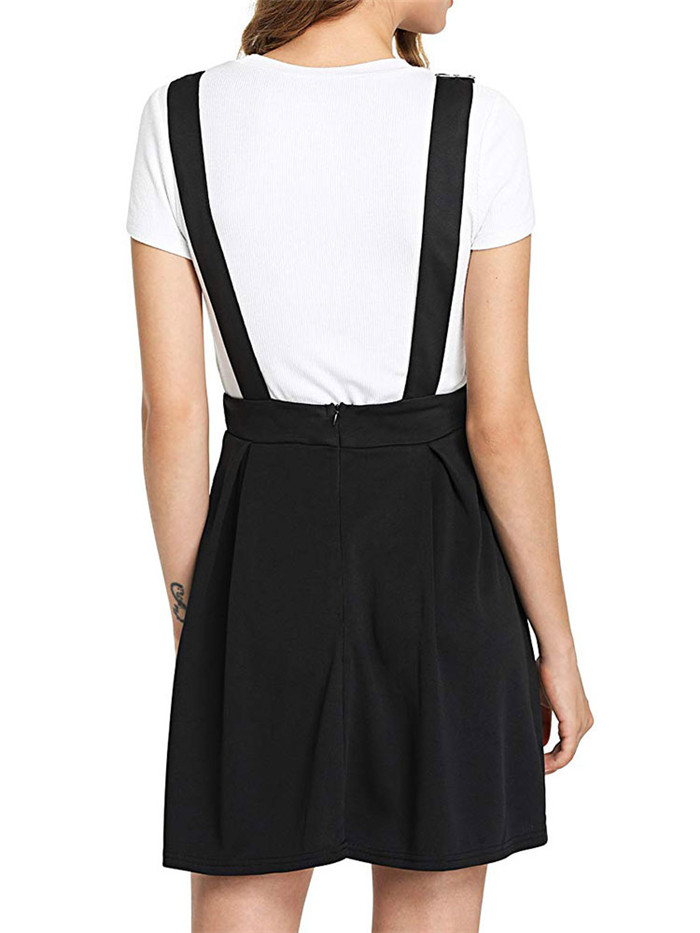 Summer Women Mini Party Dress 2019 Casual Sleeveless Zip Up Back Pinafore Dress Autumn Black Pleated Overall Dress Plus Size