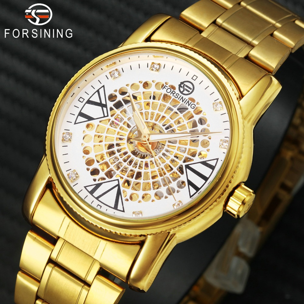 FORSINING Top Brand Luxury Dress Watch Men Auto Mechanical Skeleton Dial Golden Stainless Steel Strap Royal Classic Wristwatches 1