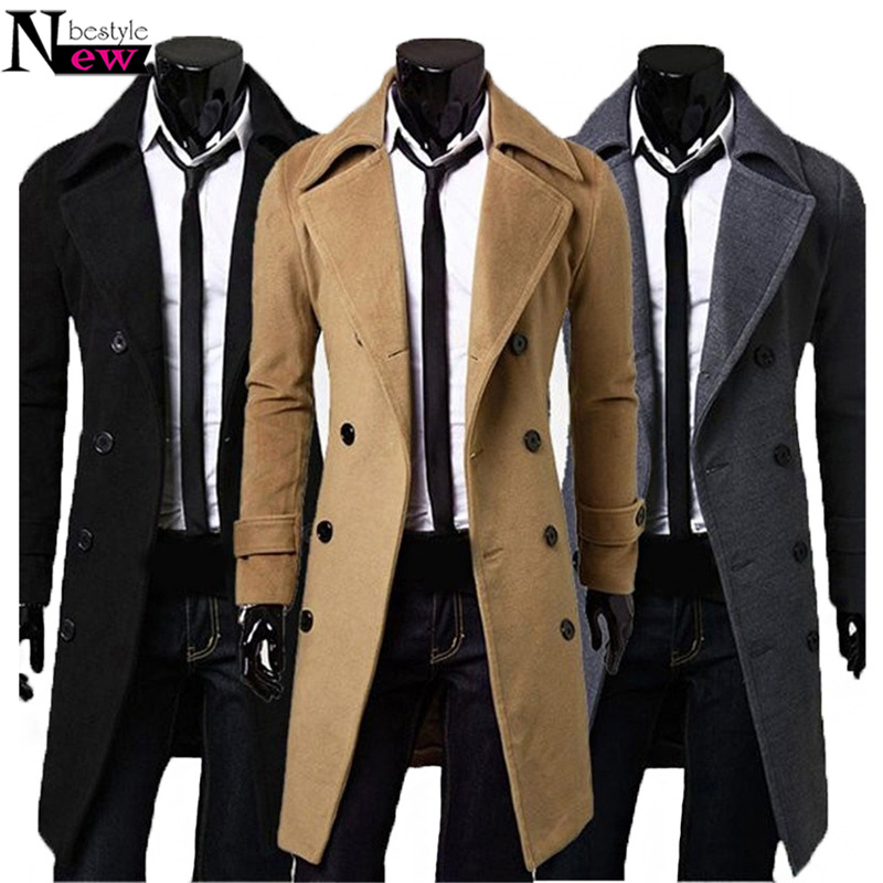2019 New Fashion Men Trench Coat Winter Long Jacke