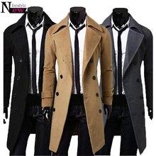 2019 New Fashion Men Trench Coat Winter Long Jacket Stylish