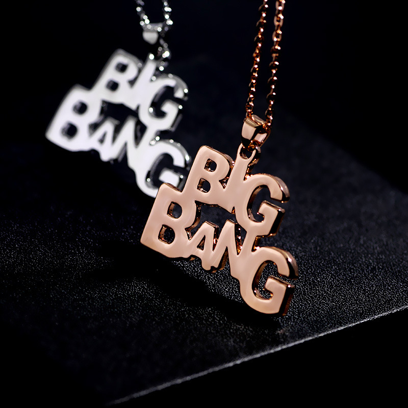 New fashion BIGBANG Korean stars around the same paragraph BigBang letter necklace pendant hollow jewe