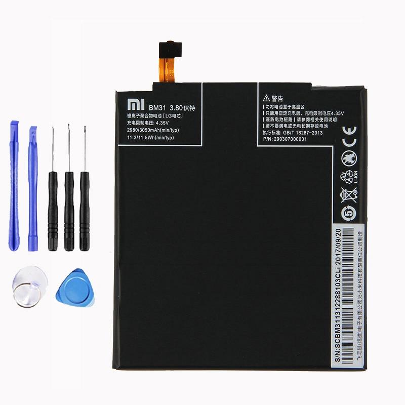 Xiaomi Original BM31 Mi3 Phone battery For Xiaomi Mi3 Mi 3 3050mAh Mobile Phone Replacement Lithium Polymer BM31 Battery