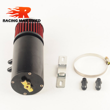 racing auto motorcycle Aluminium fuel tank oil catch tank with filter black mini OCT1118 with outlet 9.5mm and 12.7mm цены